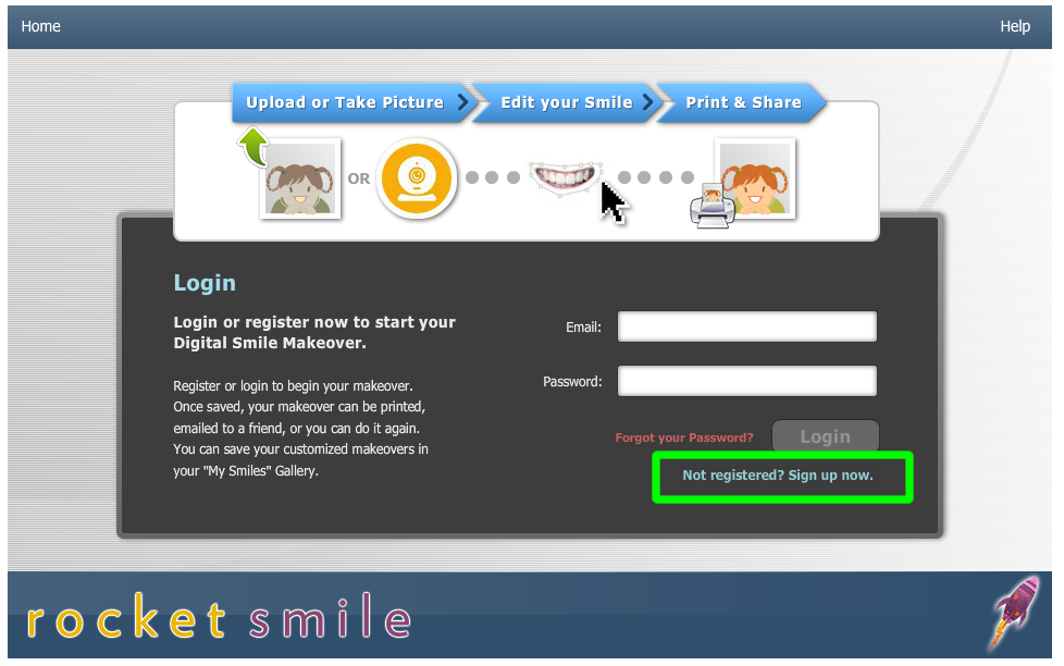 Green box shows where you register.